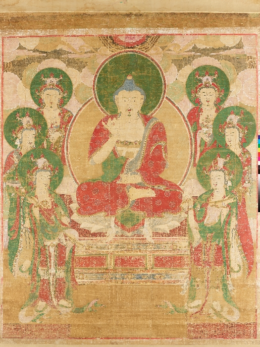 Painting of Amitabha Buddha Preaching to a Gathering in Paradise image