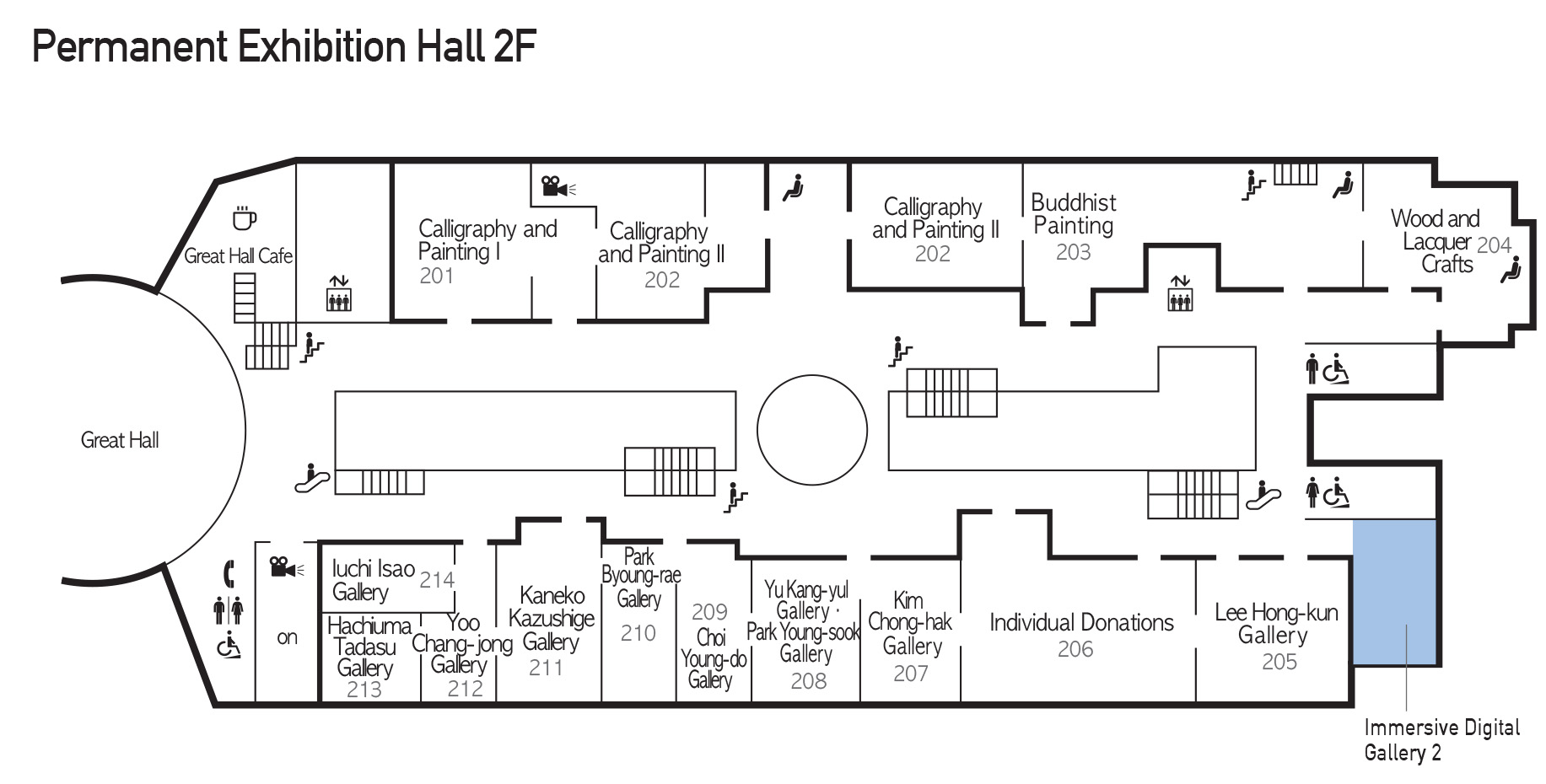 Location of Immersive Digital Gallery 2 on 2F of permanent exhibition hall